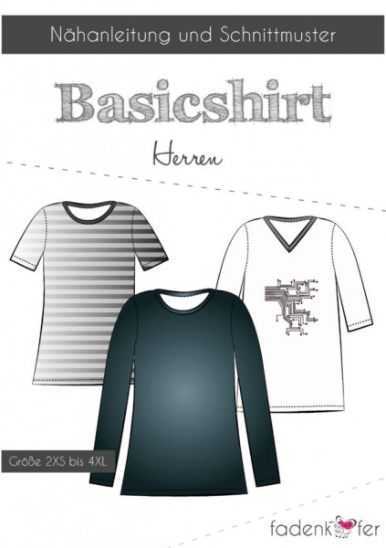 Schnittmuster Basicshirt Herren Gr. 2XS-4XL