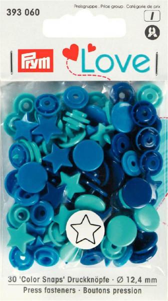 """Druckknöpfe """"Color Snaps"""" 12,4 mm dunkelblau/blau/türkis Stern"""